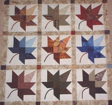 AUTUMN BLOCK LEAF PATTERN QUILT FREE Knitting PATTERNS